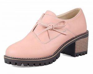 AllhqFashion Femme Tire Couleur Unie Rond à Talon Correct Chaussures Légeres de la marque AllhqFashion image 0 produit