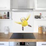 Bilderwelten Crédence en verre - Skate Parakeet - Carré 1:1, peinture murale revetement mural cuisine dosseret de cuisine impression sur verre fond de cuisine, Dimension: 59cm x 60cm de la marque Bilderwelten image 1 produit