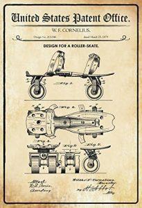 ComCard US brevets–Design for a Roller Skate–Projet pour un Roller Skate–Cornelius–1879–Design No 213546–Plaque en tôle, Metal Sign Tin de la marque ComCard image 0 produit
