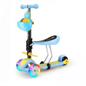 DWW-Trottinette Le scooter d'enfant de roue d'éclair peut s'asseoir des scooters se pliants PU Silent Wheel Tricycle de dessin animé en acier à haute teneur en carbone approprié pour 2-6 ans Trottinette pour enfants de la marque Trottinette pour enfants image 0 produit