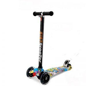 DWW-Trottinette Trottinette pour enfants Trottinette amovible à trois roues graffiti cool Poignées à hauteur réglable antidérapantes avec roues éclairantes à DEL Little Kids Trottinette à trois roues Trottinette pour enfants ( Couleur : Pattern 1 , taille image 0 produit