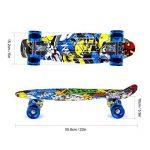 Enkeeo - Planche à Roulettes Skateboard Retro Cruiser (22 pouces, 4 roues translucides PU, table en plastique renforcé, roulement ABEC-7, pour les enfants, jeunes et adultes) de la marque ENKEEO image 1 produit