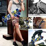 Enkeeo - Planche à Roulettes Skateboard Retro Cruiser (22 pouces, 4 roues translucides PU, table en plastique renforcé, roulement ABEC-7, pour les enfants, jeunes et adultes) de la marque ENKEEO image 3 produit