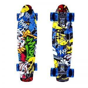 Enkeeo - Planche à Roulettes Skateboard Retro Cruiser (22 pouces, 4 roues translucides PU, table en plastique renforcé, roulement ABEC-7, pour les enfants, jeunes et adultes) de la marque ENKEEO image 0 produit
