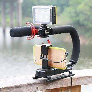 Hanbaili Smartphone 4-en-1 + Caméra d'action + Caméscope + Stabilisateur d'appareil photo DSLR Grip en forme de U/C pour Nikon/Canon/Sony/GoPro/SJCAM/Xiaomi Yi/Garmin Virb XE de la marque Hanbaili image 0 produit