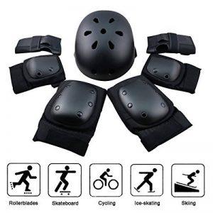 Kit de protections 7 pièces Adulte Coudières Protège-poignet Genouillères avec Helm Adapter au Skate-board, Vélo, Roller, Patins à glace ( Unisexe, S/ M /L de la marque EarthSave image 0 produit
