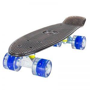 Land Surfer Skateboard Rétro Cruiser avec planche transparente de 56 cm - Roulements ABEC-7 – Roues de 59 mm à DEL qui s'illuminent quand elles tournent + sac de transport de la marque Land Surfer image 0 produit