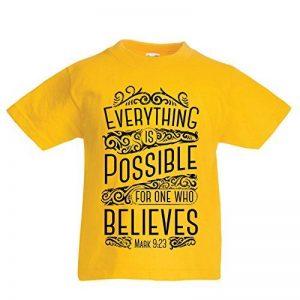 lepni.me Enfants Garçons/Filles T-Shirt Jésus Christ: Tout est Possible pour celui Qui croit - Religion chrétienne Foi Bible - Pâques - Résurrection de la marque lepni.me image 0 produit