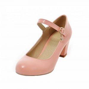 Odomolor Femme à Talon Correct PU Cuir Couleur Unie Tire Rond Chaussures Légeres de la marque Odomolor image 0 produit
