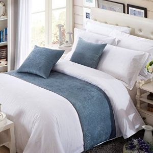OSVINO Coureurs de Lit Décoratif Chemin de Lit Double Chenille Couleur Pure Simple, bleu 180X50cm pour 120cm lit de la marque OSVINO image 0 produit
