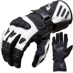 Proanti Gants de moto en cuir et textile), couleur noir et blanc de la marque PROANTI® image 0 produit