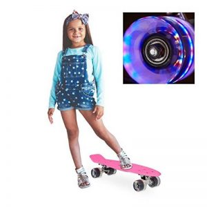 Relaxdays Skateboard Mini Cruiser roues lumineuses LED fluo enfant 22 pouces ABEC 7, rose de la marque Relaxdays image 0 produit