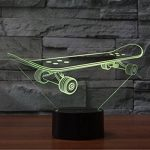 Skateboard 3d lampe Illusion d'optique Night Light, 7 Changement de couleur tactile Table Lampes de bureau avec Acrylique Plat et ABS Base & câble USB pour Awesome Cadeau de la marque Jawell image 4 produit