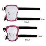 SKL 6 PCS Genouillère Coudière Protection Poignet Sets de Protection Fille pour Skateboard BMX Roller Patinage Vélo Bicyclette - Rose Rouge de la marque SKL image 4 produit
