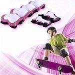 SKL 6 PCS Genouillère Coudière Protection Poignet Sets de Protection Fille pour Skateboard BMX Roller Patinage Vélo Bicyclette - Rose Rouge de la marque SKL image 6 produit