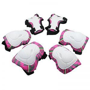 SKL 6 PCS Genouillère Coudière Protection Poignet Sets de Protection Fille pour Skateboard BMX Roller Patinage Vélo Bicyclette - Rose Rouge de la marque SKL image 0 produit
