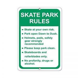 Wennuna Aluminium plaque en métal Skate Park Rules Skate à votre propre risque Sécurité Panneau en aluminium plaque en métal 9en X 12en de la marque WenNuNa image 0 produit